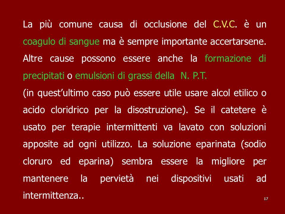 La più comune causa di occlusione del C.V.C. è un coagulo di sangue ma è sempre importante accertarsene. Altre cause possono essere anche la formazion