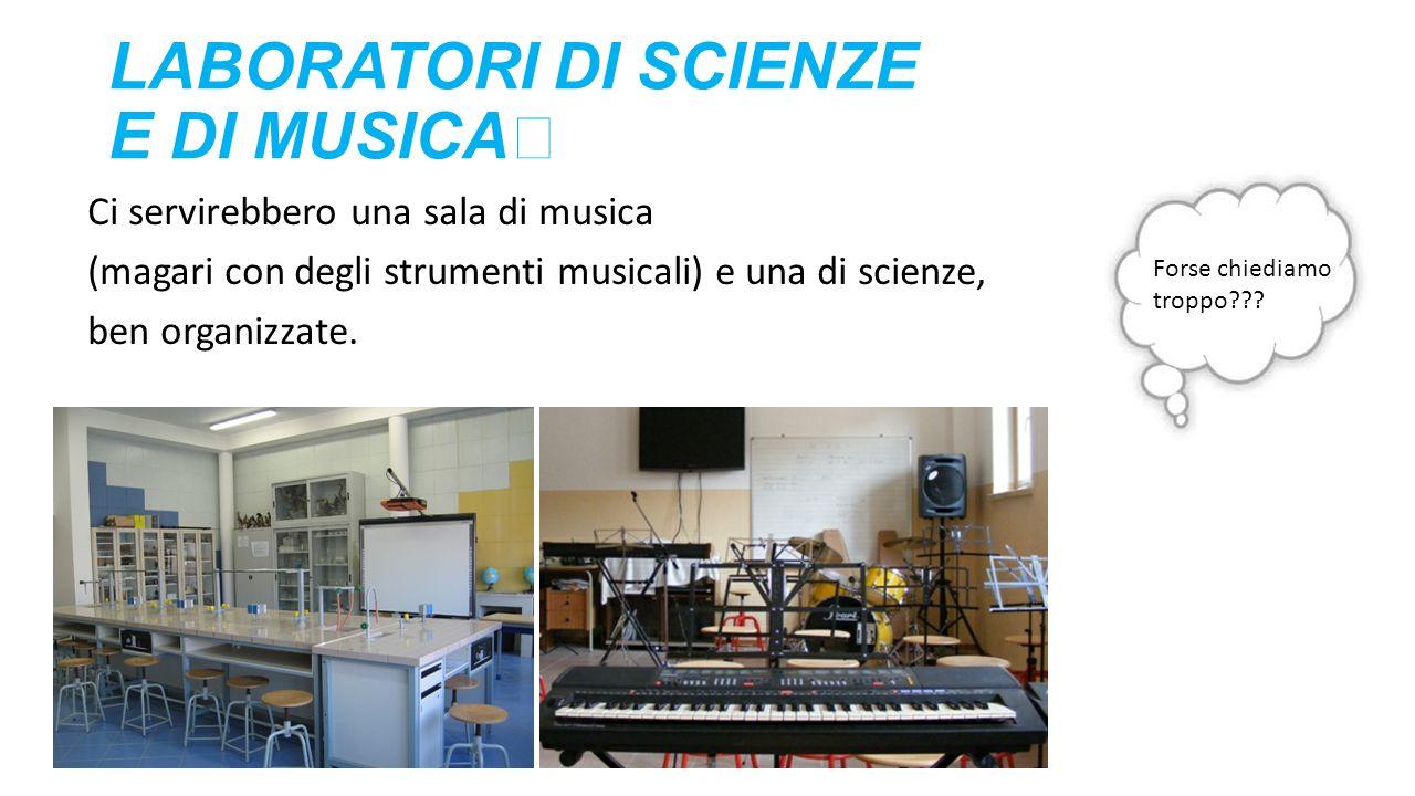 LABORATORI DI SCIENZE E DI MUSICA Ci servirebbero una sala di musica (magari con degli strumenti musicali) e una di scienze, ben organizzate. Forse ch