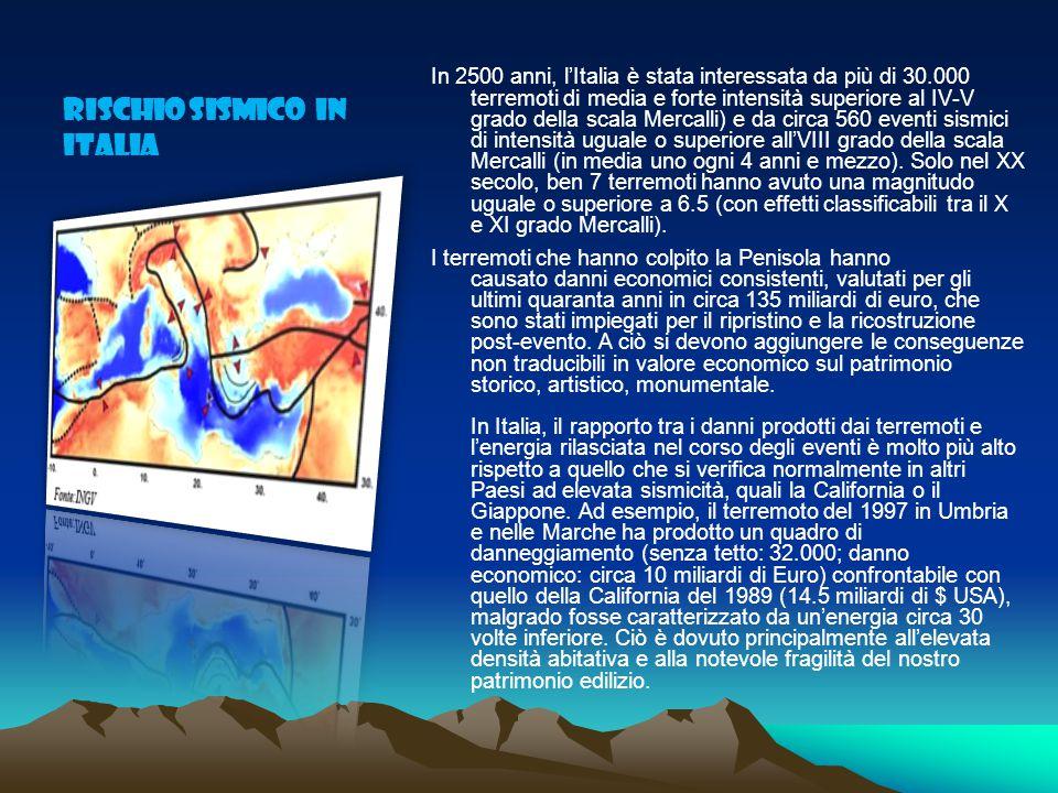 Rischio sismico in Italia In 2500 anni, l'Italia è stata interessata da più di 30.000 terremoti di media e forte intensità superiore al IV-V grado della scala Mercalli) e da circa 560 eventi sismici di intensità uguale o superiore all'VIII grado della scala Mercalli (in media uno ogni 4 anni e mezzo).