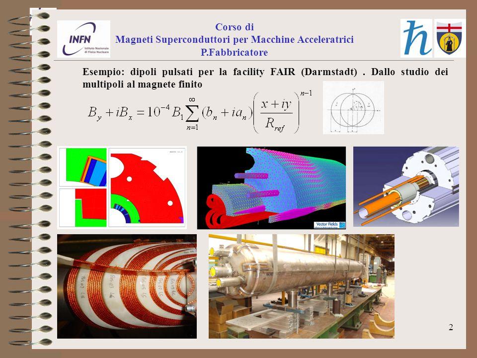 2 Corso di Magneti Superconduttori per Macchine Acceleratrici P.Fabbricatore Esempio: dipoli pulsati per la facility FAIR (Darmstadt).