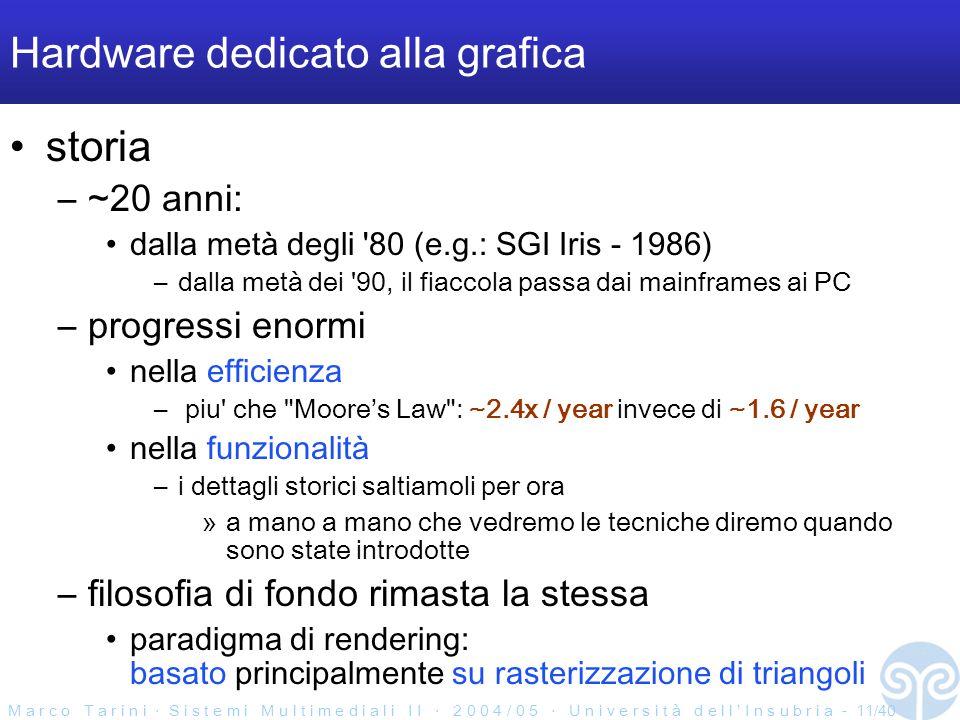 M a r c o T a r i n i ‧ S i s t e m i M u l t i m e d i a l i I I ‧ 2 0 0 4 / 0 5 ‧ U n i v e r s i t à d e l l ' I n s u b r i a - 11/40 Hardware dedicato alla grafica storia –~20 anni: dalla metà degli 80 (e.g.: SGI Iris - 1986) –dalla metà dei 90, il fiaccola passa dai mainframes ai PC –progressi enormi nella efficienza – piu che Moore's Law : ~2.4x / year invece di ~1.6 / year nella funzionalità –i dettagli storici saltiamoli per ora »a mano a mano che vedremo le tecniche diremo quando sono state introdotte –filosofia di fondo rimasta la stessa paradigma di rendering: basato principalmente su rasterizzazione di triangoli