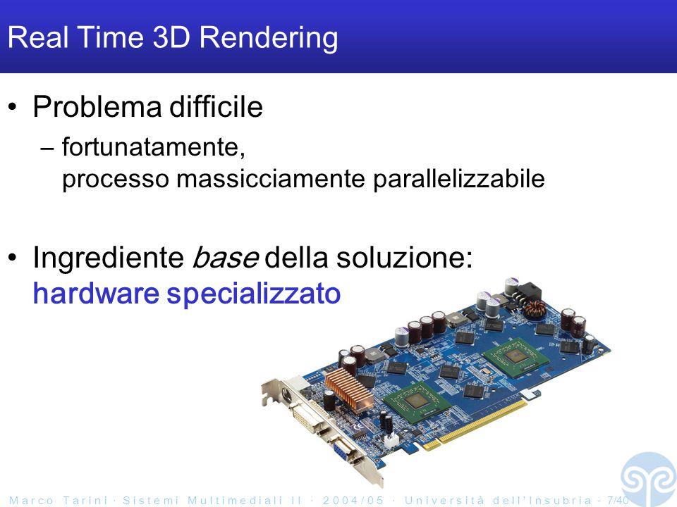 M a r c o T a r i n i ‧ S i s t e m i M u l t i m e d i a l i I I ‧ 2 0 0 4 / 0 5 ‧ U n i v e r s i t à d e l l ' I n s u b r i a - 7/40 Real Time 3D Rendering Problema difficile –fortunatamente, processo massicciamente parallelizzabile Ingrediente base della soluzione: hardware specializzato