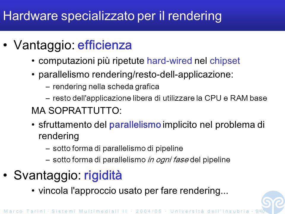 M a r c o T a r i n i ‧ S i s t e m i M u l t i m e d i a l i I I ‧ 2 0 0 4 / 0 5 ‧ U n i v e r s i t à d e l l ' I n s u b r i a - 9/40 Hardware specializzato per il rendering Vantaggio: efficienza computazioni più ripetute hard-wired nel chipset parallelismo rendering/resto-dell-applicazione: –rendering nella scheda grafica –resto dell applicazione libera di utilizzare la CPU e RAM base MA SOPRATTUTTO: sfruttamento del parallelismo implicito nel problema di rendering –sotto forma di parallelismo di pipeline –sotto forma di parallelismo in ogni fase del pipeline Svantaggio: rigidità vincola l approccio usato per fare rendering...