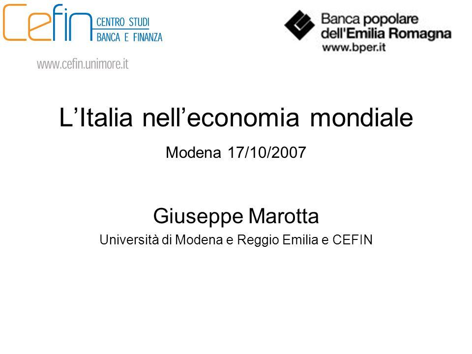 L'Italia nell'economia mondiale Modena 17/10/2007 Giuseppe Marotta Università di Modena e Reggio Emilia e CEFIN