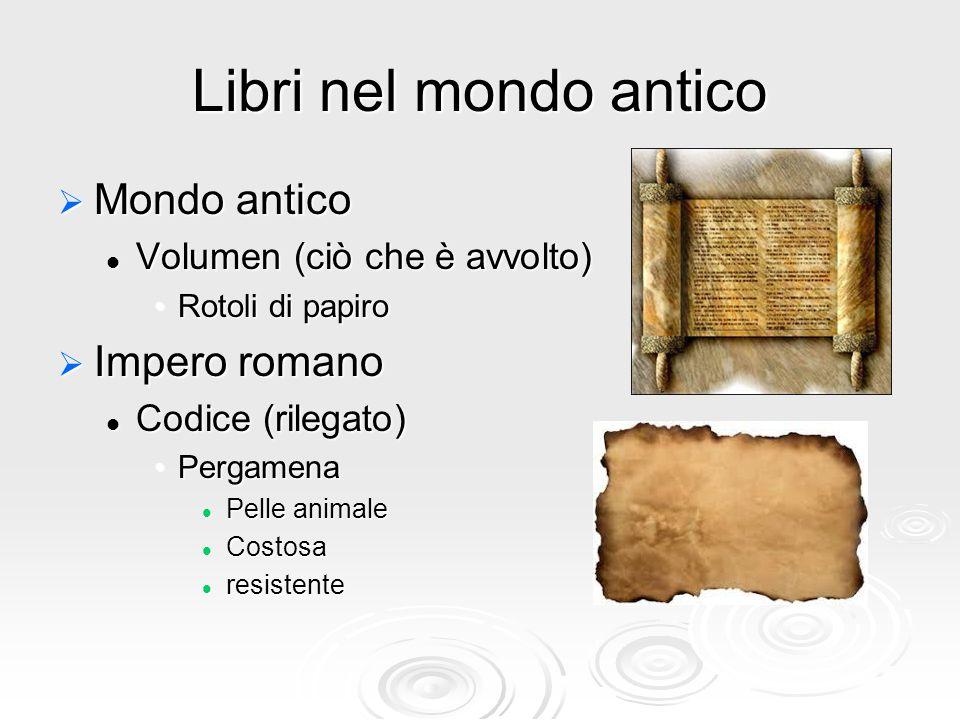 Libri nel mondo antico  Mondo antico Volumen (ciò che è avvolto) Volumen (ciò che è avvolto) Rotoli di papiroRotoli di papiro  Impero romano Codice