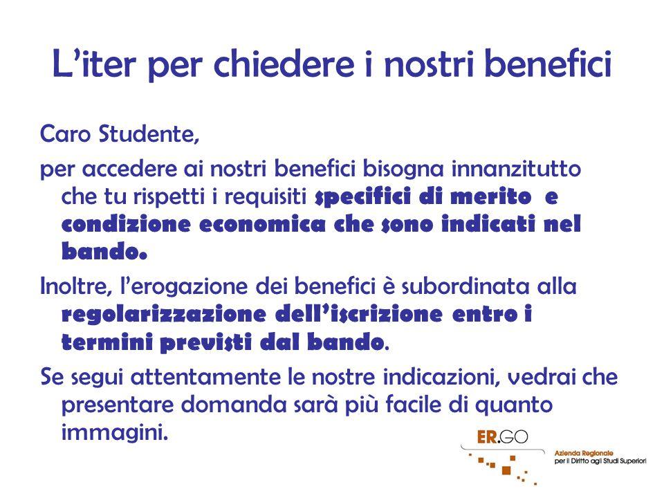 2 L'iter per chiedere i nostri benefici Caro Studente, per accedere ai nostri benefici bisogna innanzitutto che tu rispetti i requisiti specifici di merito e condizione economica che sono indicati nel bando.