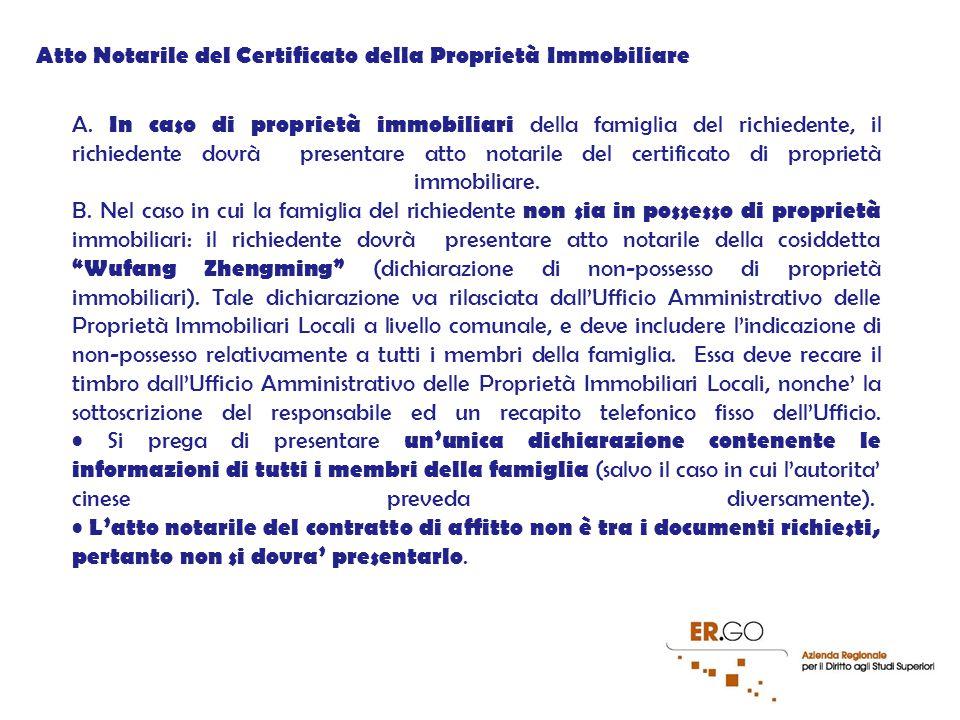 Atto Notarile del Certificato della Proprietà Immobiliare A.