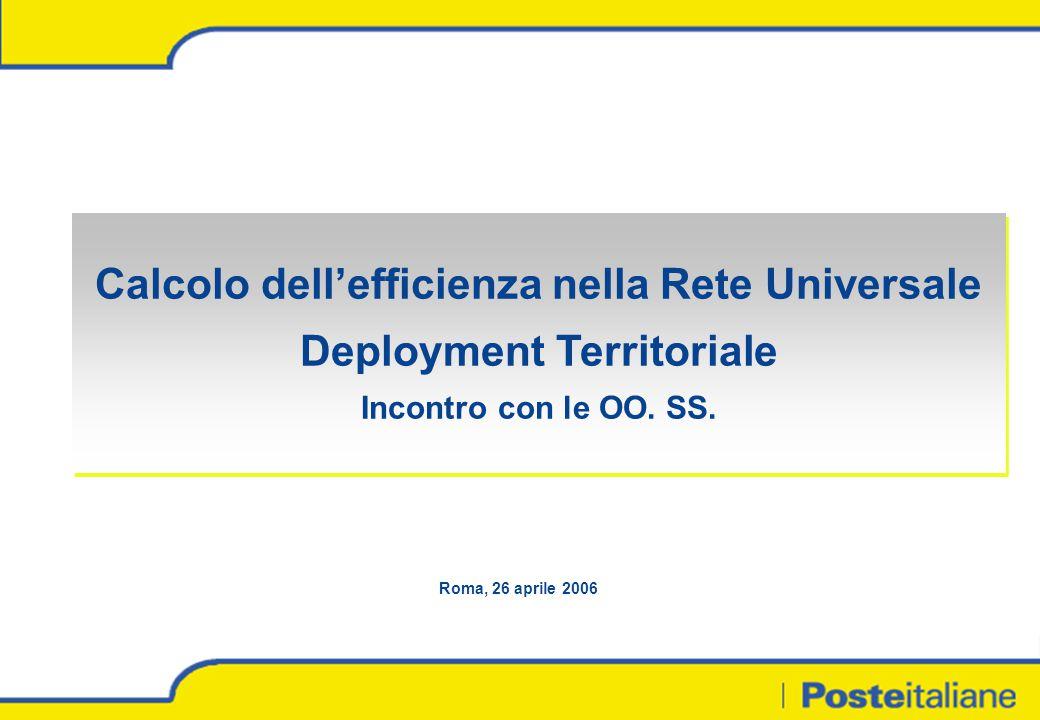 Calcolo dell'efficienza nella Rete Universale Deployment Territoriale Incontro con le OO. SS. Calcolo dell'efficienza nella Rete Universale Deployment