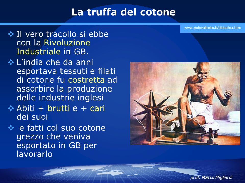 prof. Marco Migliardi www.polovalboite.it/didattica.htm La truffa del cotone  Il vero tracollo si ebbe con la Rivoluzione Industriale in GB.  L'indi