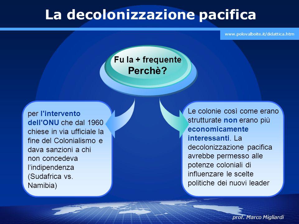 prof. Marco Migliardi www.polovalboite.it/didattica.htm La decolonizzazione pacifica per l'intervento dell'ONU che dal 1960 chiese in via ufficiale la