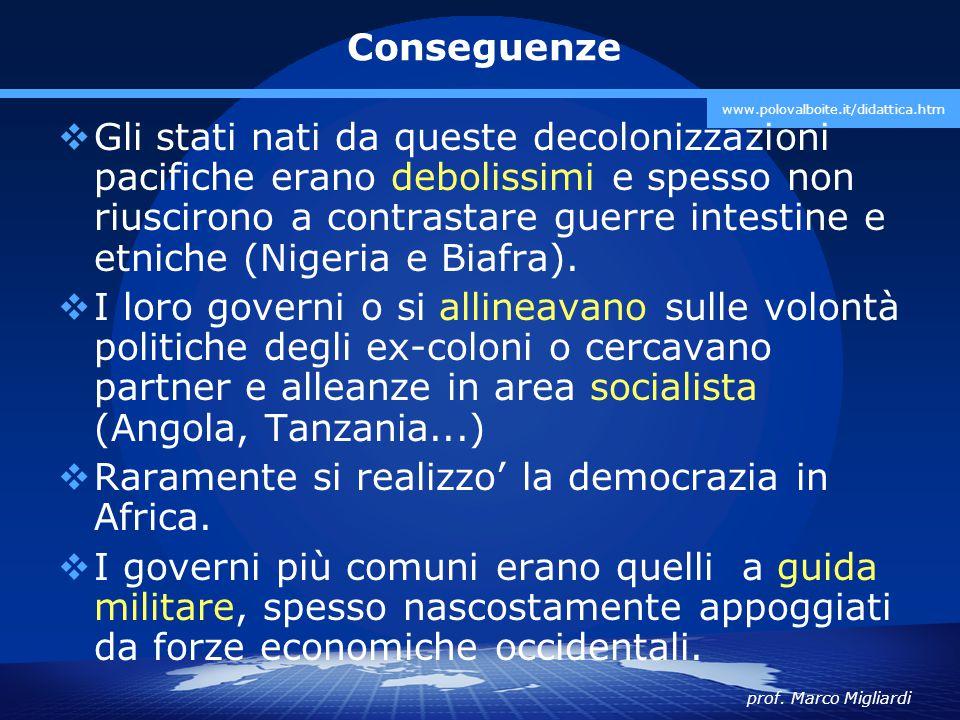 prof. Marco Migliardi www.polovalboite.it/didattica.htm Conseguenze  Gli stati nati da queste decolonizzazioni pacifiche erano debolissimi e spesso n