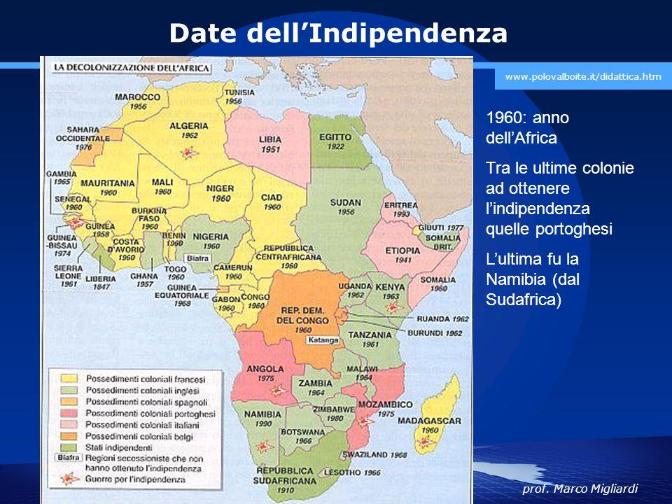 prof. Marco Migliardi www.polovalboite.it/didattica.htm Date dell'Indipendenza 1960: anno dell'Africa Tra le ultime colonie ad ottenere l'indipendenza