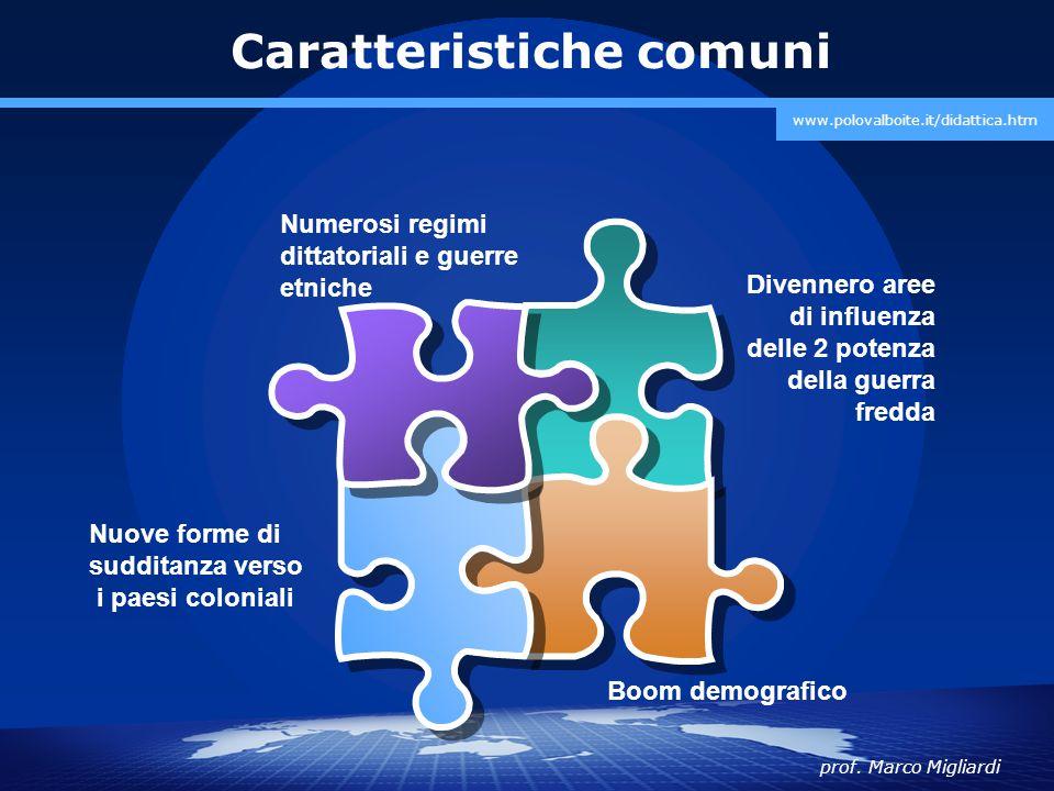 prof. Marco Migliardi www.polovalboite.it/didattica.htm Caratteristiche comuni Nuove forme di sudditanza verso i paesi coloniali Divennero aree di inf