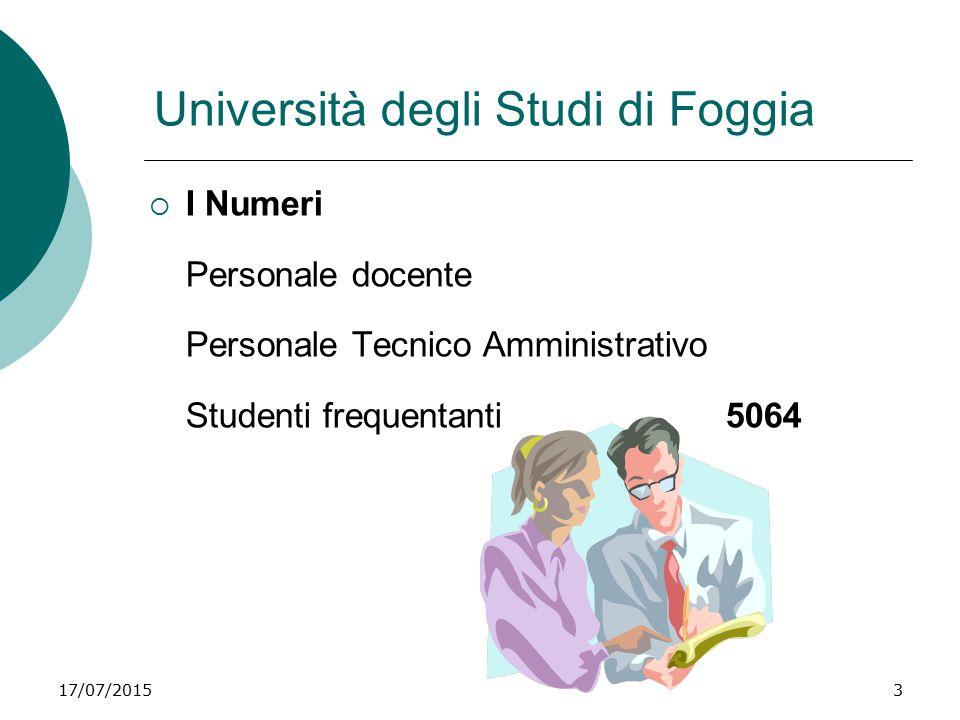 17/07/20153 Università degli Studi di Foggia  I Numeri Personale docente Personale Tecnico Amministrativo Studenti frequentanti5064
