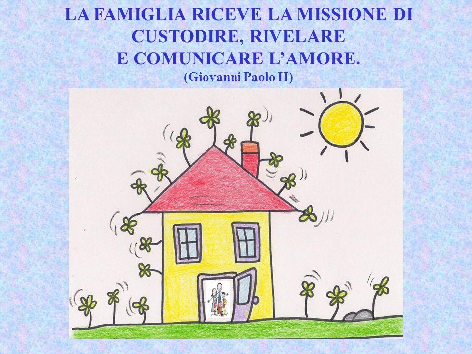 LA FAMIGLIA RICEVE LA MISSIONE DI CUSTODIRE, RIVELARE E COMUNICARE L'AMORE. (Giovanni Paolo II)