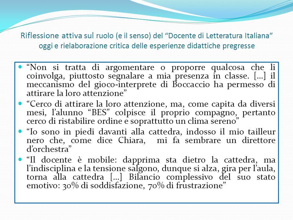 """Riflessione attiva sul ruolo (e il senso) del """"Docente di Letteratura Italiana"""" oggi e rielaborazione critica delle esperienze didattiche pregresse """"N"""