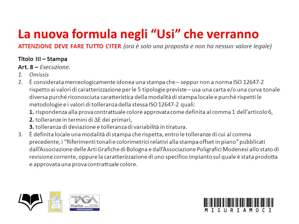 """La nuova formula negli """"Usi"""" che verranno ATTENZIONE DEVE FARE TUTTO L'ITER (ora è solo una proposta e non ha nessun valore legale) Titolo III – Stamp"""