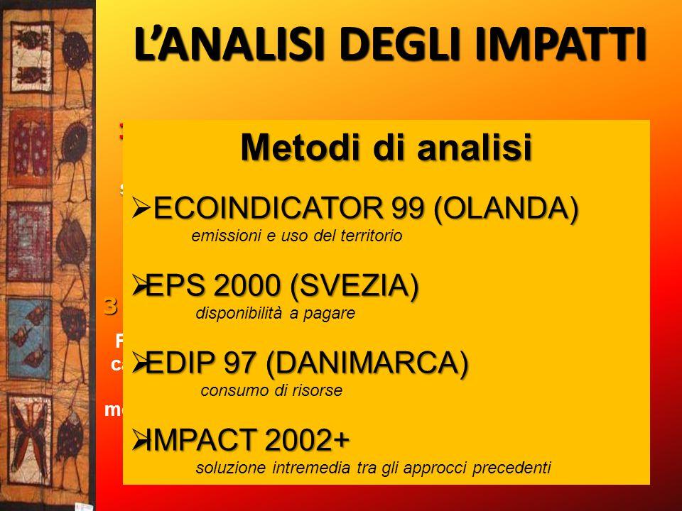 L'ANALISI DEGLI IMPATTI 1.CLASSIFICAZIONE Dati dell' inventario suddivisi per categorie di impatti ambientali e loro effetti potenziali1.CLASSIFICAZIO