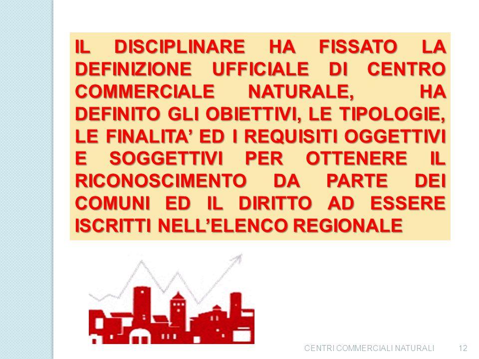 CENTRI COMMERCIALI NATURALI11 LA REGIONE CAMPANIA HA REGOLAMENTATO I CENTRI COMMERCIALI NATURALI CON IL DISCIPLINARE DGR. 1476 DEL 18 09 1999