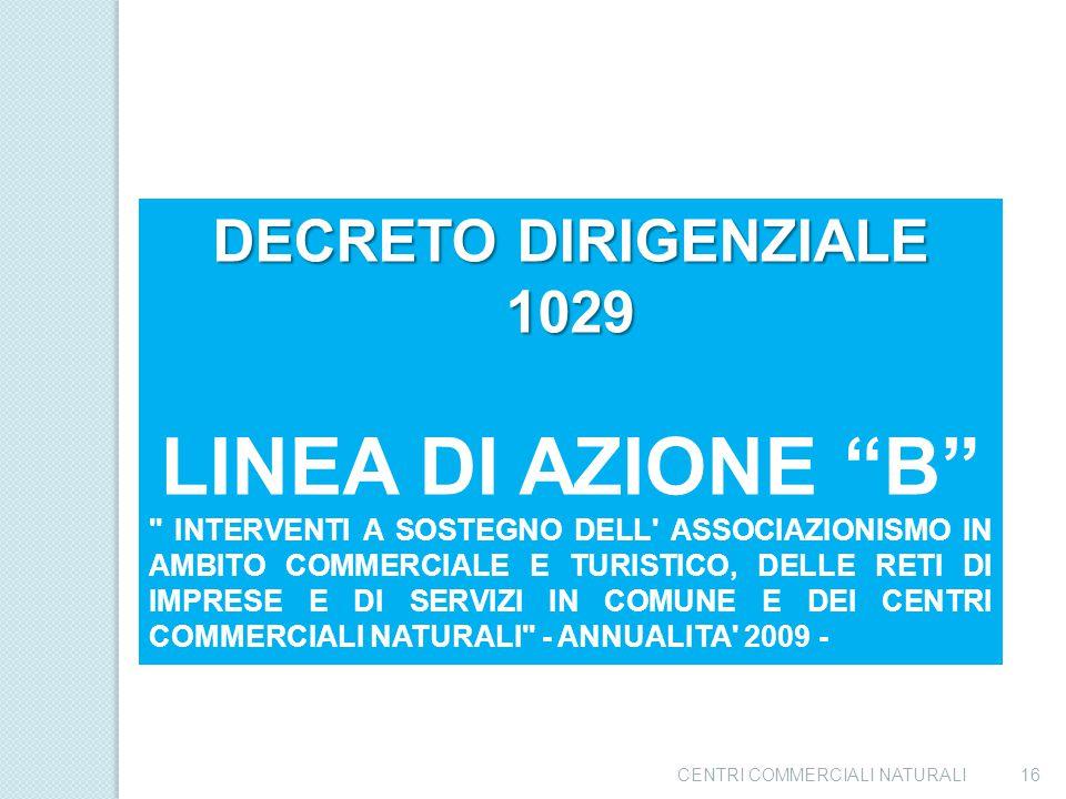 """CENTRI COMMERCIALI NATURALI15 DECRETO DIRIGENZIALE 1064 LINEA DI AZIONE """"A"""""""