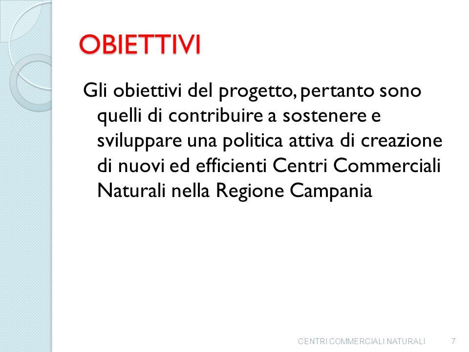 OBIETTIVI Gli obiettivi del progetto, pertanto sono quelli di contribuire a sostenere e sviluppare una politica attiva di creazione di nuovi ed efficienti Centri Commerciali Naturali nella Regione Campania CENTRI COMMERCIALI NATURALI7
