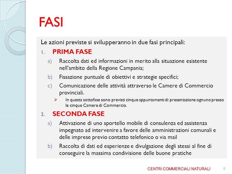 FASI Le azioni previste si svilupperanno in due fasi principali: 1.