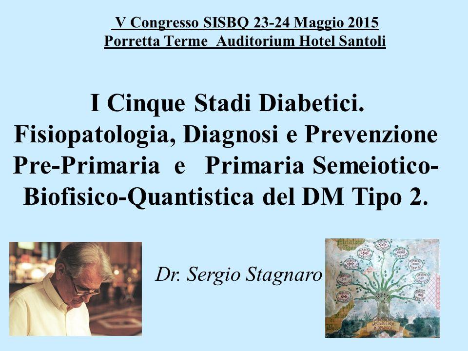 V Congresso SISBQ 23-24 Maggio 2015 Porretta Terme Auditorium Hotel Santoli I Cinque Stadi Diabetici. Fisiopatologia, Diagnosi e Prevenzione Pre-Prima