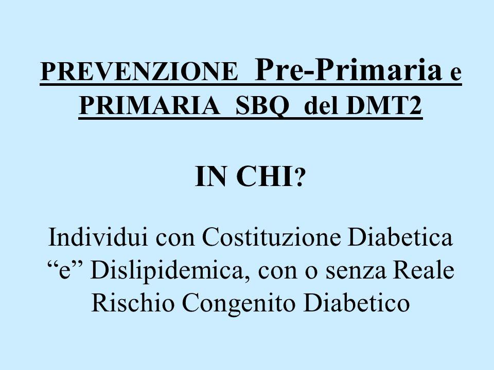 """PREVENZIONE Pre-Primaria e PRIMARIA SBQ del DMT2 IN CHI ? Individui con Costituzione Diabetica """"e"""" Dislipidemica, con o senza Reale Rischio Congenito"""