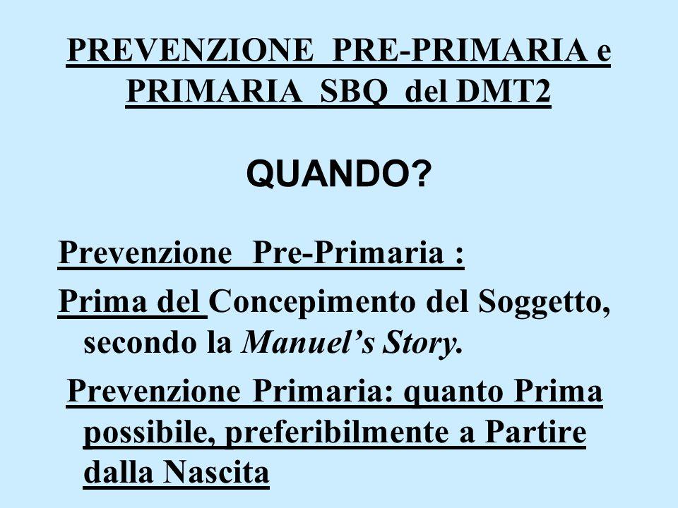 PREVENZIONE PRE-PRIMARIA e PRIMARIA SBQ del DMT2 QUANDO? Prevenzione Pre-Primaria : Prima del Concepimento del Soggetto, secondo la Manuel's Story. Pr