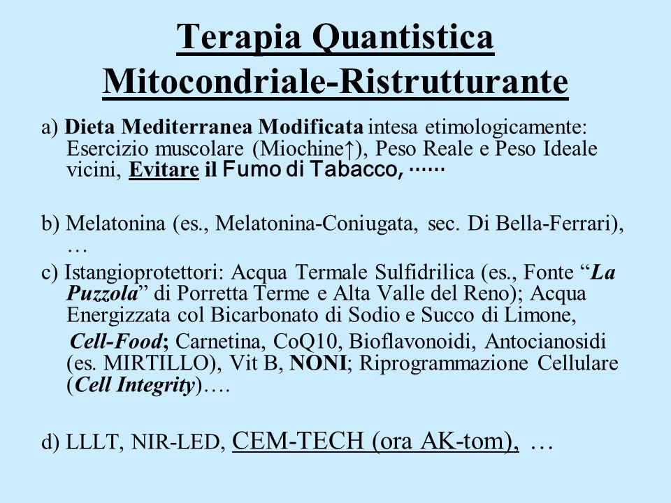Terapia Quantistica Mitocondriale-Ristrutturante a) Dieta Mediterranea Modificata intesa etimologicamente: Esercizio muscolare (Miochine↑), Peso Reale