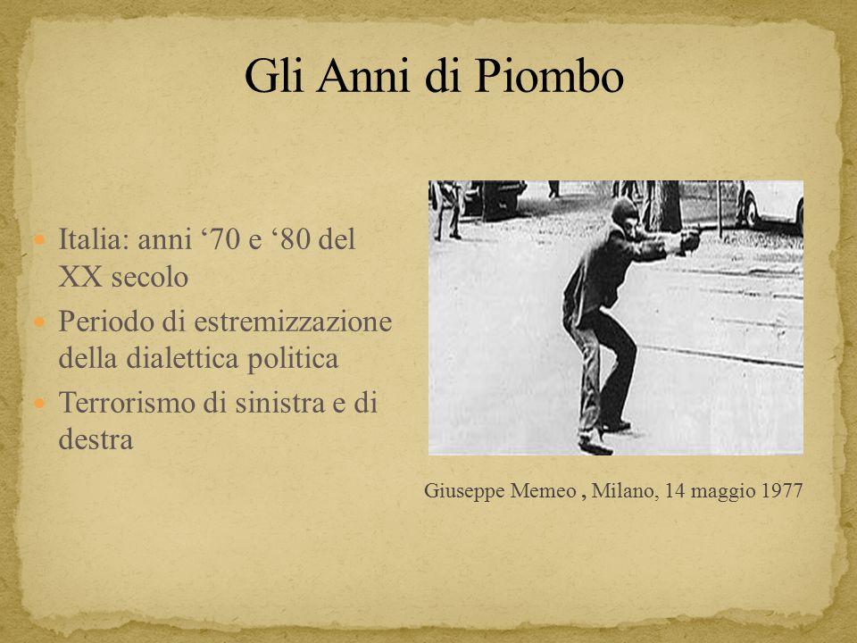 Giuseppe Memeo, Milano, 14 maggio 1977 Italia: anni '70 e '80 del XX secolo Periodo di estremizzazione della dialettica politica Terrorismo di sinistra e di destra