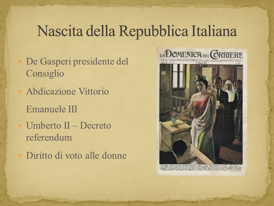 Tipologie di voto 2 giugno '46 Risultato referendum