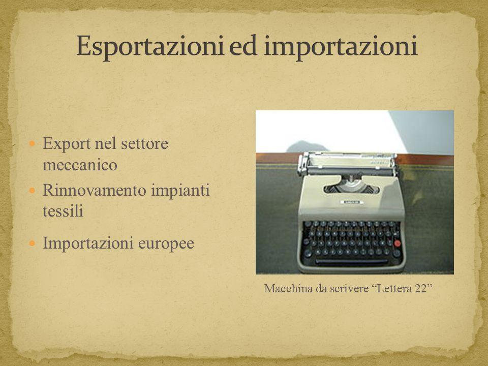 Export nel settore meccanico Rinnovamento impianti tessili Importazioni europee Macchina da scrivere Lettera 22