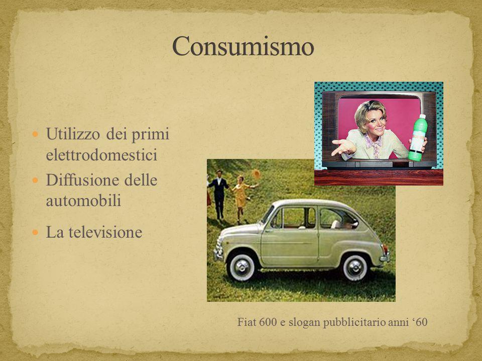 Utilizzo dei primi elettrodomestici Diffusione delle automobili La televisione Fiat 600 e slogan pubblicitario anni '60