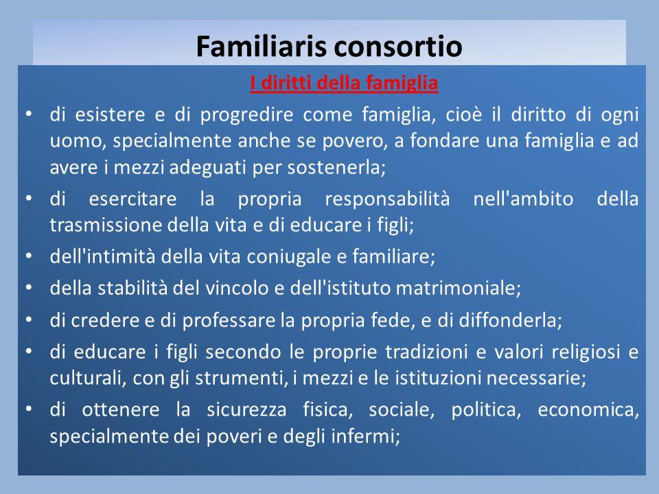 Familiaris consortio I diritti della famiglia di esistere e di progredire come famiglia, cioè il diritto di ogni uomo, specialmente anche se povero, a