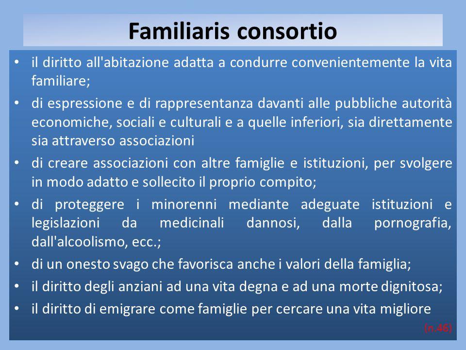 Familiaris consortio il diritto all'abitazione adatta a condurre convenientemente la vita familiare; di espressione e di rappresentanza davanti alle p