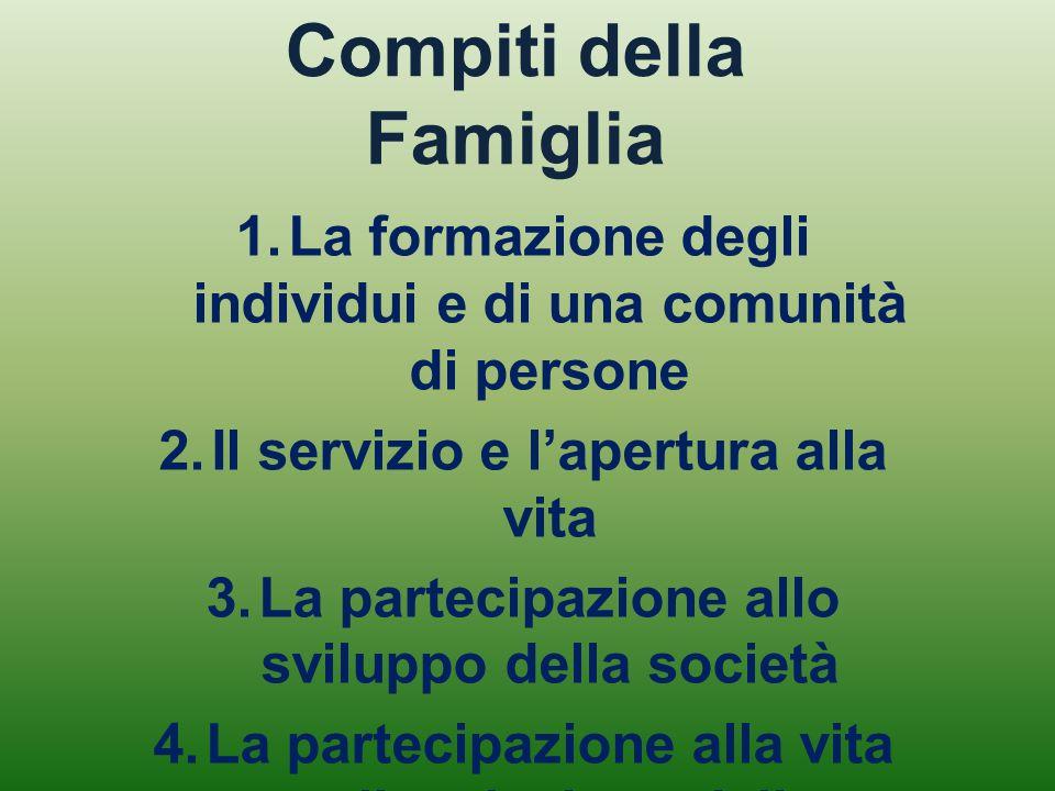 Compiti della Famiglia 1.La formazione degli individui e di una comunità di persone 2.Il servizio e l'apertura alla vita 3.La partecipazione allo svil