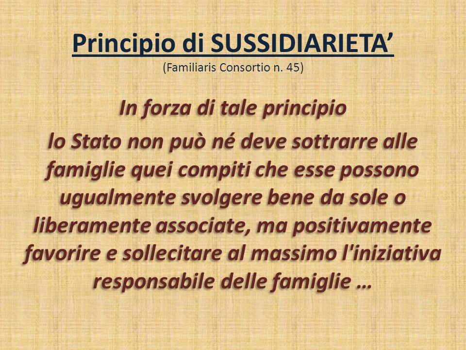 Principio di SUSSIDIARIETA' (Familiaris Consortio n. 45) In forza di tale principio lo Stato non può né deve sottrarre alle famiglie quei compiti che