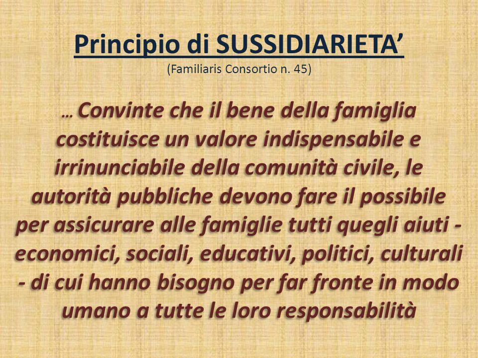Principio di SUSSIDIARIETA' (Familiaris Consortio n. 45) … Convinte che il bene della famiglia costituisce un valore indispensabile e irrinunciabile d