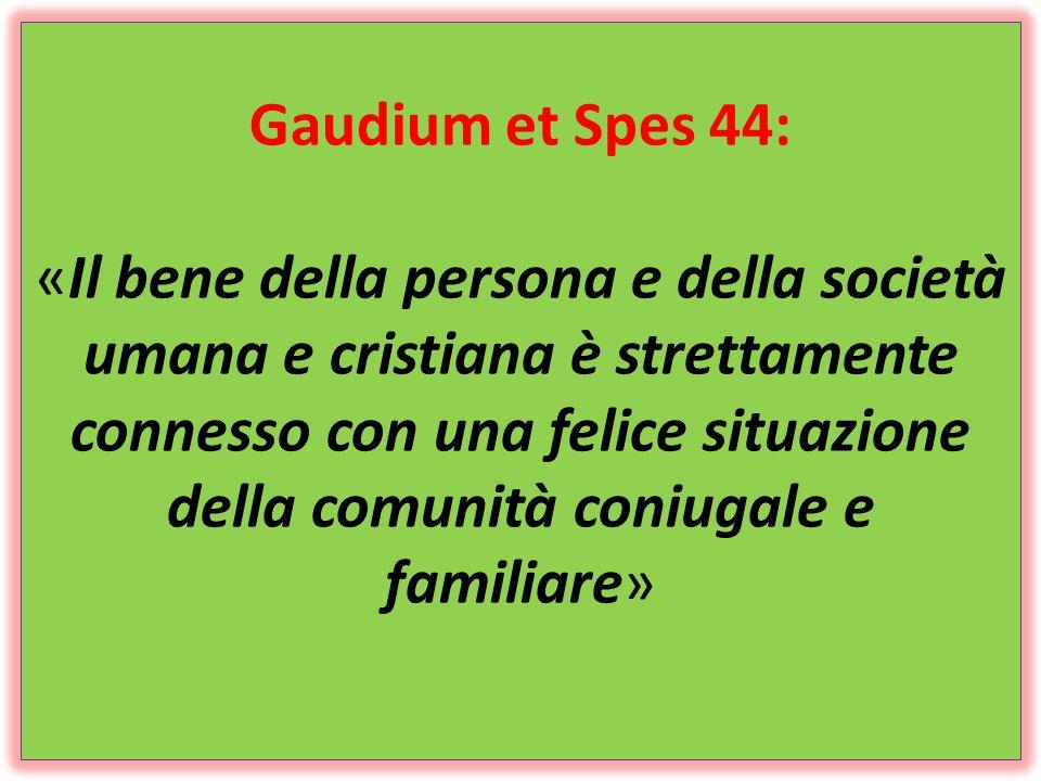 Gaudium et Spes 44: «Il bene della persona e della società umana e cristiana è strettamente connesso con una felice situazione della comunità coniugal