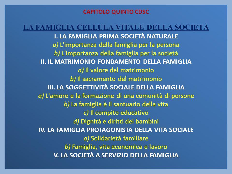 CAPITOLO QUINTO CDSC LA FAMIGLIA CELLULA VITALE DELLA SOCIETÀ I. LA FAMIGLIA PRIMA SOCIETÀ NATURALE a) L'importanza della famiglia per la persona b) L