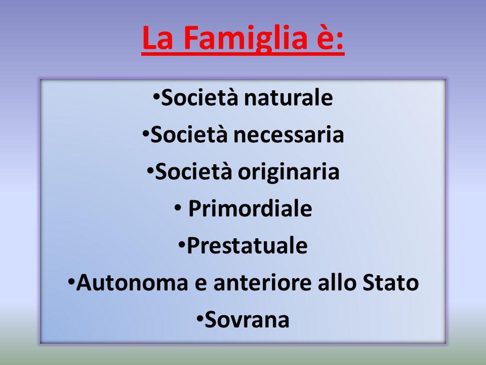La Famiglia è: Società naturale Società necessaria Società originaria Primordiale Prestatuale Autonoma e anteriore allo Stato Sovrana