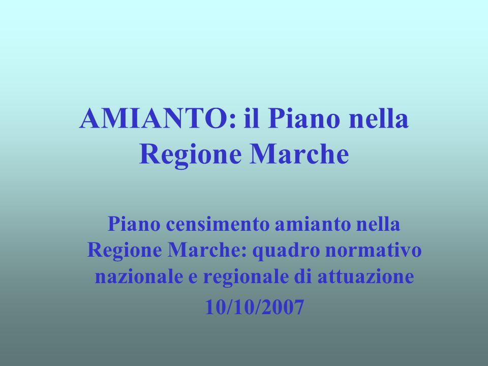 AMIANTO: il Piano nella Regione Marche Piano censimento amianto nella Regione Marche: quadro normativo nazionale e regionale di attuazione 10/10/2007
