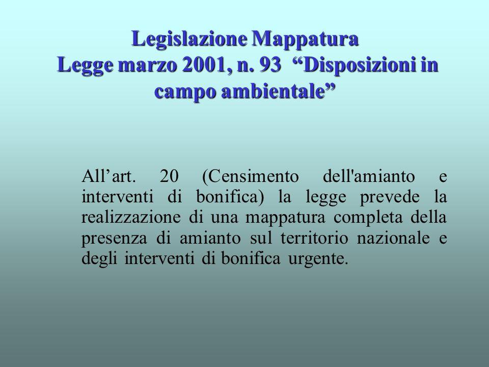 """Legislazione Mappatura Legge marzo 2001, n. 93 """"Disposizioni in campo ambientale"""" All'art. 20 (Censimento dell'amianto e interventi di bonifica) la le"""