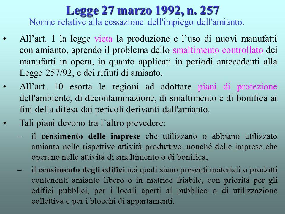 All'art. 1 la legge vieta la produzione e l'uso di nuovi manufatti con amianto, aprendo il problema dello smaltimento controllato dei manufatti in ope