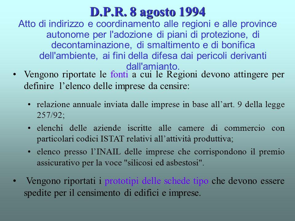D.P.R. 8 agosto 1994 Atto di indirizzo e coordinamento alle regioni e alle province autonome per l'adozione di piani di protezione, di decontaminazion