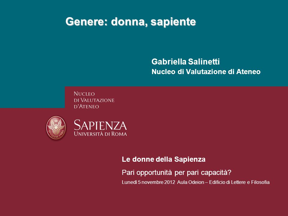 Genere nelle Facoltà, a.a. 2010-11 GENERE:DONNA, SAPIENTEPagina 12