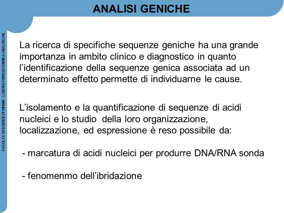 FACOLTA' DI SCIENZE FF MM NN – LABORATORIO DI CHIMICA ANALITICAIII ANALISI GENICHE L'isolamento e la quantificazione di sequenze di acidi nucleici e l