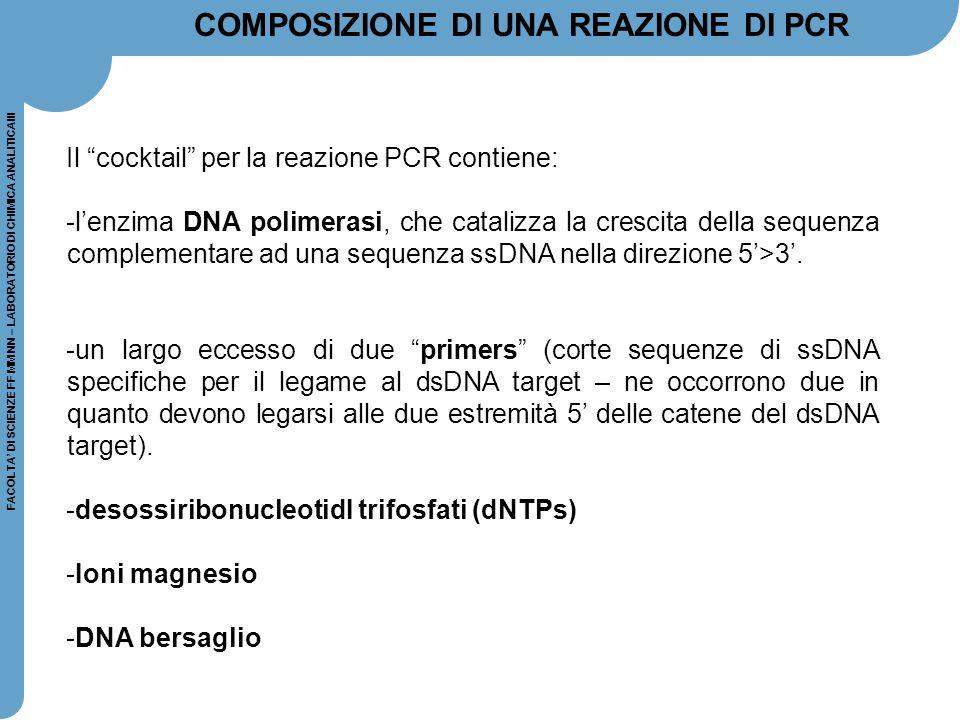 """FACOLTA' DI SCIENZE FF MM NN – LABORATORIO DI CHIMICA ANALITICAIII Il """"cocktail"""" per la reazione PCR contiene: -l'enzima DNA polimerasi, che catalizza"""