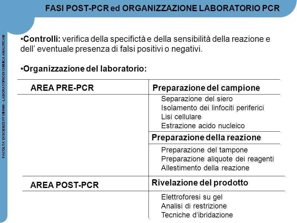 FACOLTA' DI SCIENZE FF MM NN – LABORATORIO DI CHIMICA ANALITICAIII FASI POST-PCR ed ORGANIZZAZIONE LABORATORIO PCR Controlli: verifica della specifict
